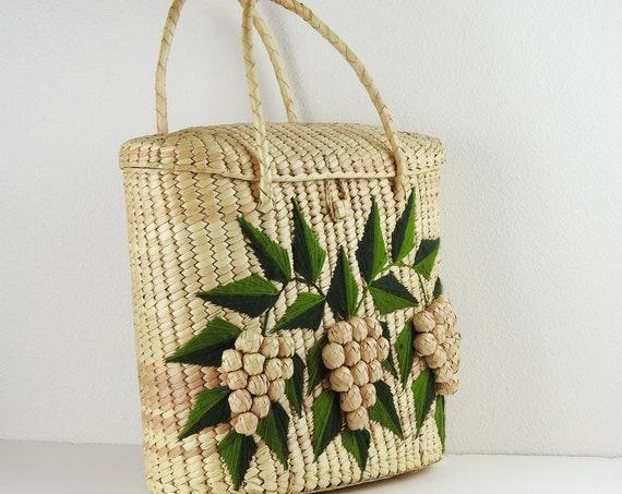 Large Straw Raffia Bag / Vintage Straw Beach Bag