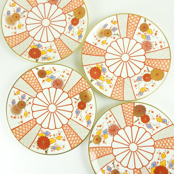 Vintage Japanese Lunch Plates / Retro Mikasa Luncheon Plates, Ginza Pattern