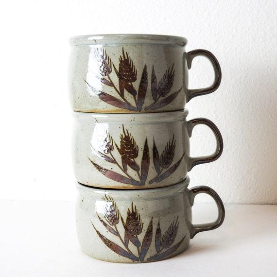 Large Stoneware Mug Set / Vintage Coffee Mugs / Retro Soup Mugs