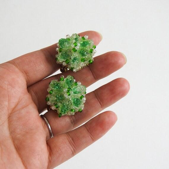 Vintage Beaded Cluster Earrings / Crystal Beaded Clip On Earrings