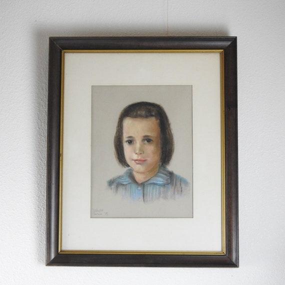 Vintage Framed Pastel Portrait / Large Child's Portrait / Original Pastel Drawing