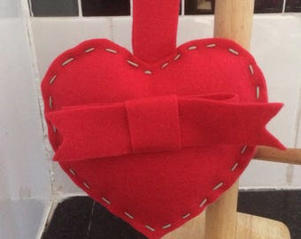 Red felt love heart