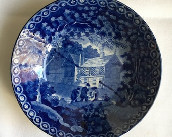 Staffordshire  1804-1829 Dark Blue Adams Transferware Gables Farm Saucer 5 7/8""