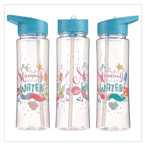ENCHANTED MERMAID 500ML PLASTIC WATER SPORTS DRINKS LUNCH BOTTLE WITH STRAW