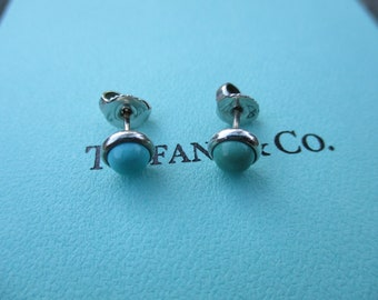 Genuine vintage Tiffany & Co turquoise earrings - sterling silver