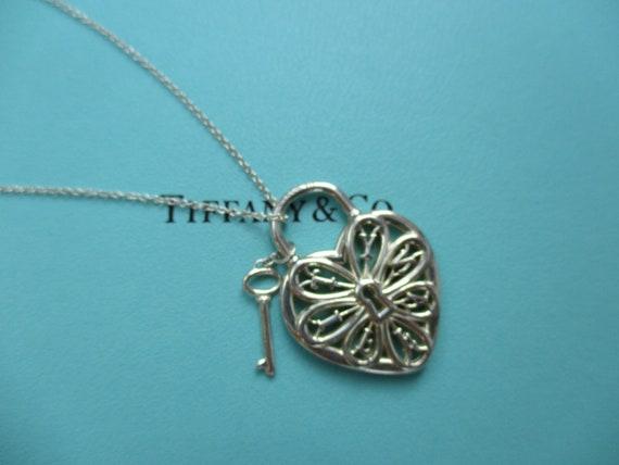 6bbe14114 Genuine Tiffany & Co filigree heart and key necklace   Etsy