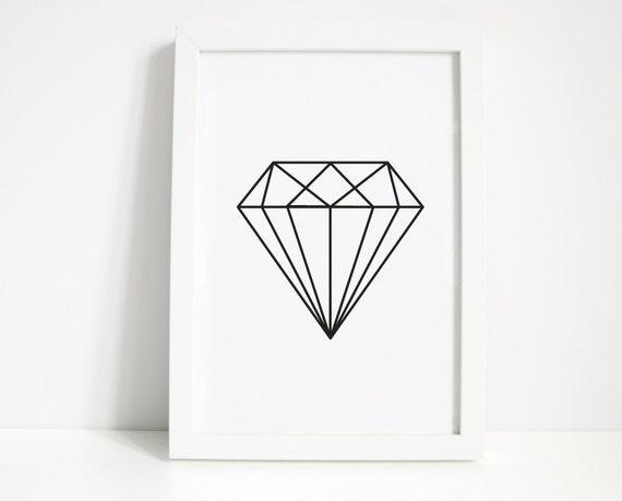 Diamond Wall Print Wall Art Home Decor Bedroom Print | Etsy