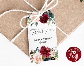 WLP-RED 1211 Edit with TEMPLETT Printable Geometric Thank You Favor Tag Printable Burgandy Thank You Tag Template Favor Tags