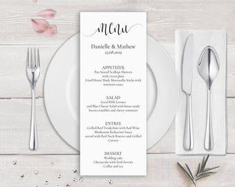 Kalligraphie Hochzeit Vorlage druckbare Hochzeit Menü-Karte
