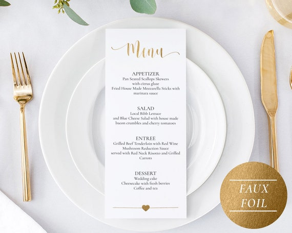 Gold Menu Template Download Faux Gold Wedding Menu Card Etsy