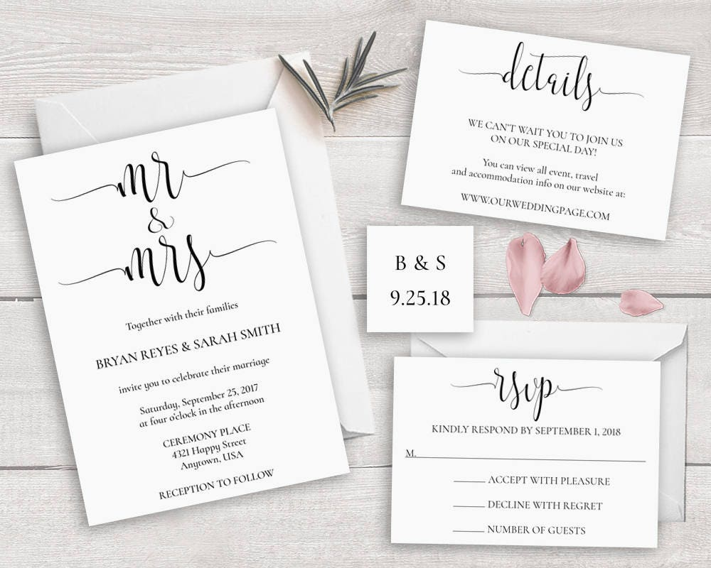 Calligraphy Wedding Invitations: Calligraphy Wedding Invitation Set Template Mr And Mrs