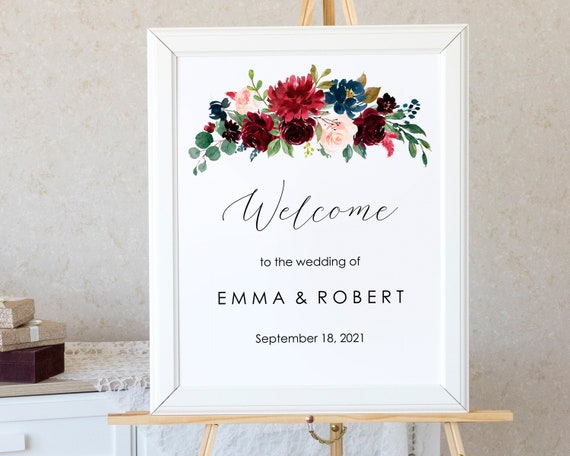 graphic regarding Welcome Sign Templates titled Printable Marriage ceremony Welcome Indication Burgundy Floral, Editable Welcome Indicator Template Marsala Welcome Wedding day Poster, Burgundy Wedding day Signal - BFL1