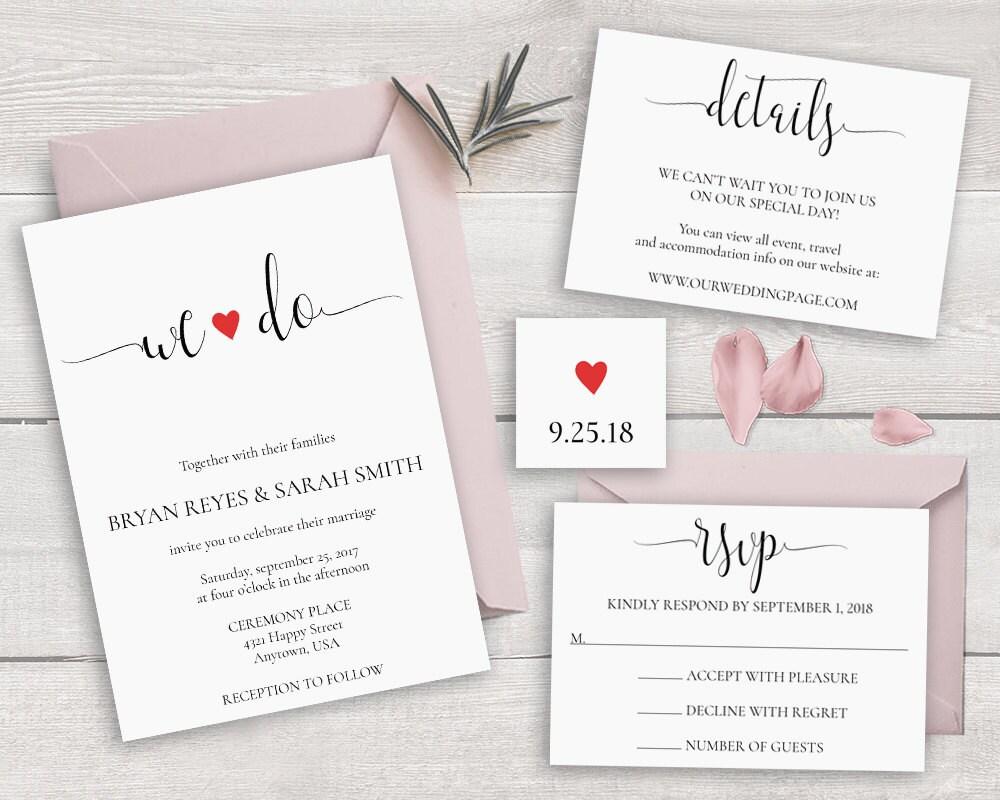Calligraphy Wedding Invitations: Calligraphy Wedding Invitation Set Template We Do