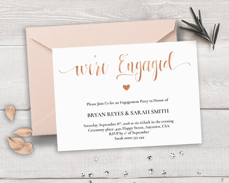 Rose Gold Engagement Invitation Template Were Engaged Etsy