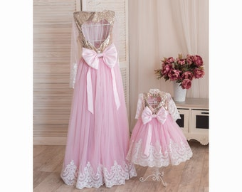 644e86ef7 Gold and pink birthday outfit, Mother daughter matching dress, Matching  mother daughter dress, Mommy and Me outfits, Pink floor length dress
