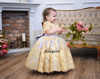 Baby Girl Birthday Dress Lace Flower Gold Lilac Tutu 1 Year 2 Old Outfit Toddler Wedding