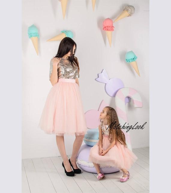 Goud Sequin Dresses Moeder Dochter Matching Jurken Mama En Mij Etsy