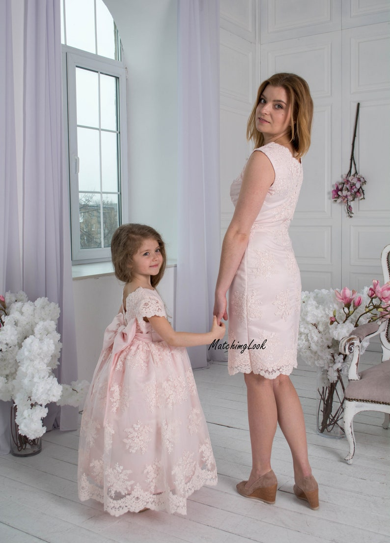 6db40d09b5ab Pink Mommy and Me outfits Mother daughter matching dress   Etsy