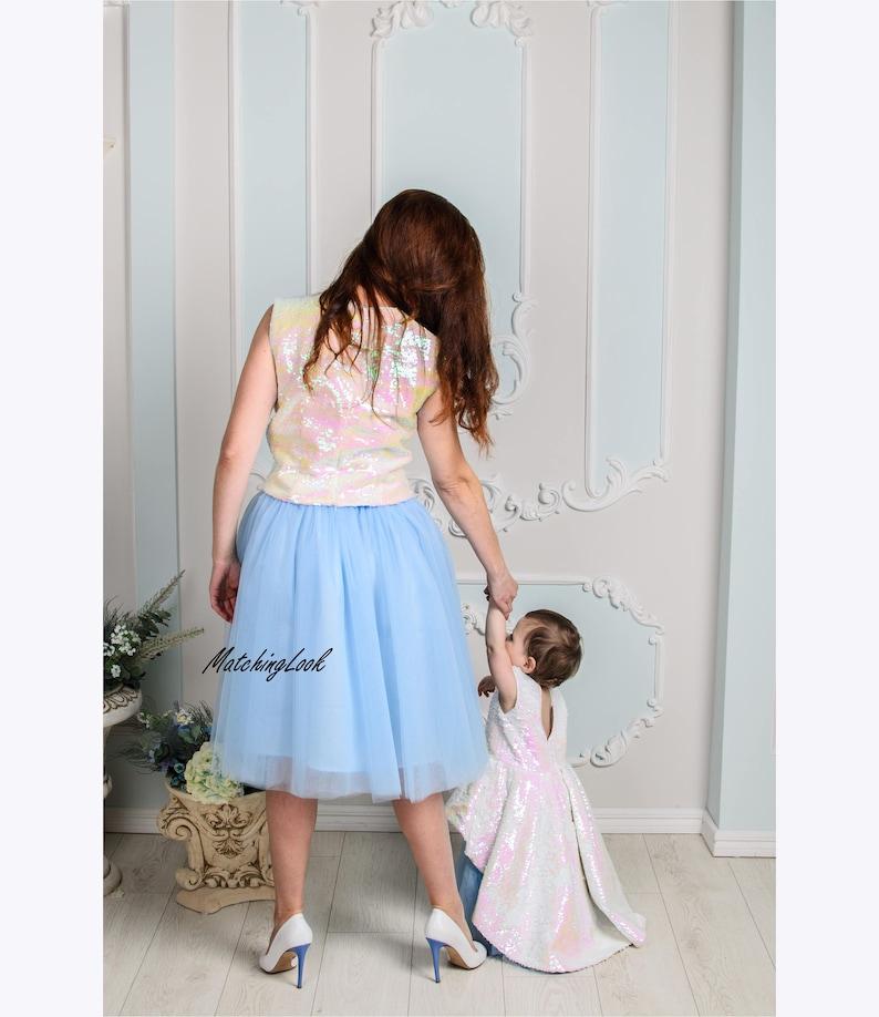 f9d3d8ec714 Rose bleu mère fille robe Tulle maman et moi assortis tenue