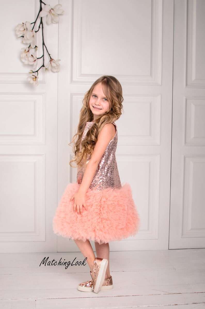 01d0686ccb54 Flower Girl Dress 1st Birthday Outfit Rose Gold Sequin