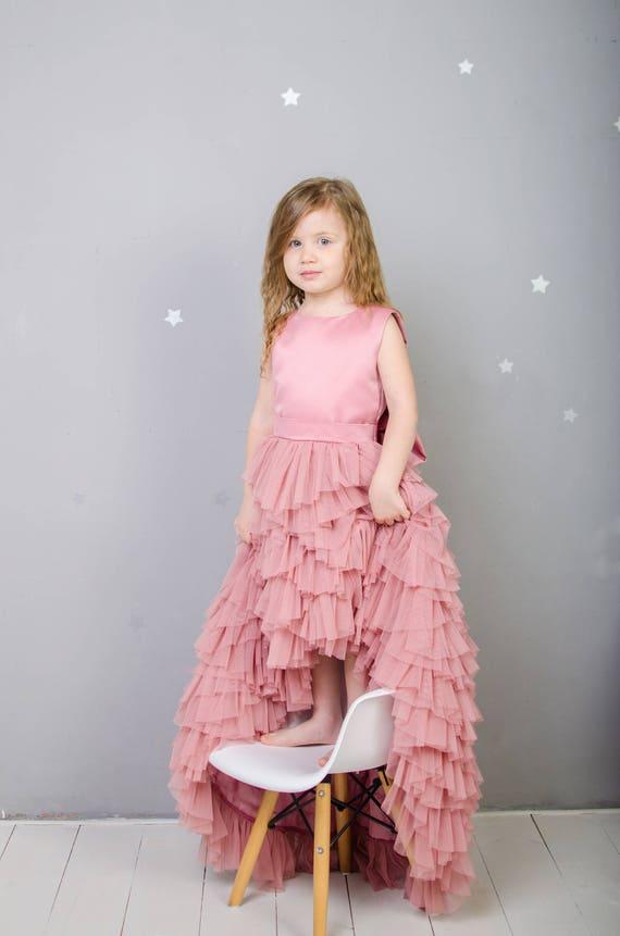 Flower Girl Dusty Rose Tutu Tulle Dress Pageant Train Dress Etsy