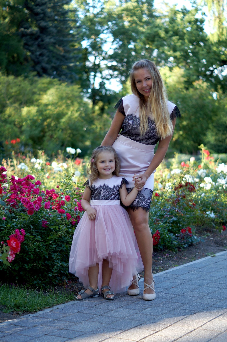 9a7f54536299 Mommy and Me matching dresses outfits Pink Lace Knee length   Etsy