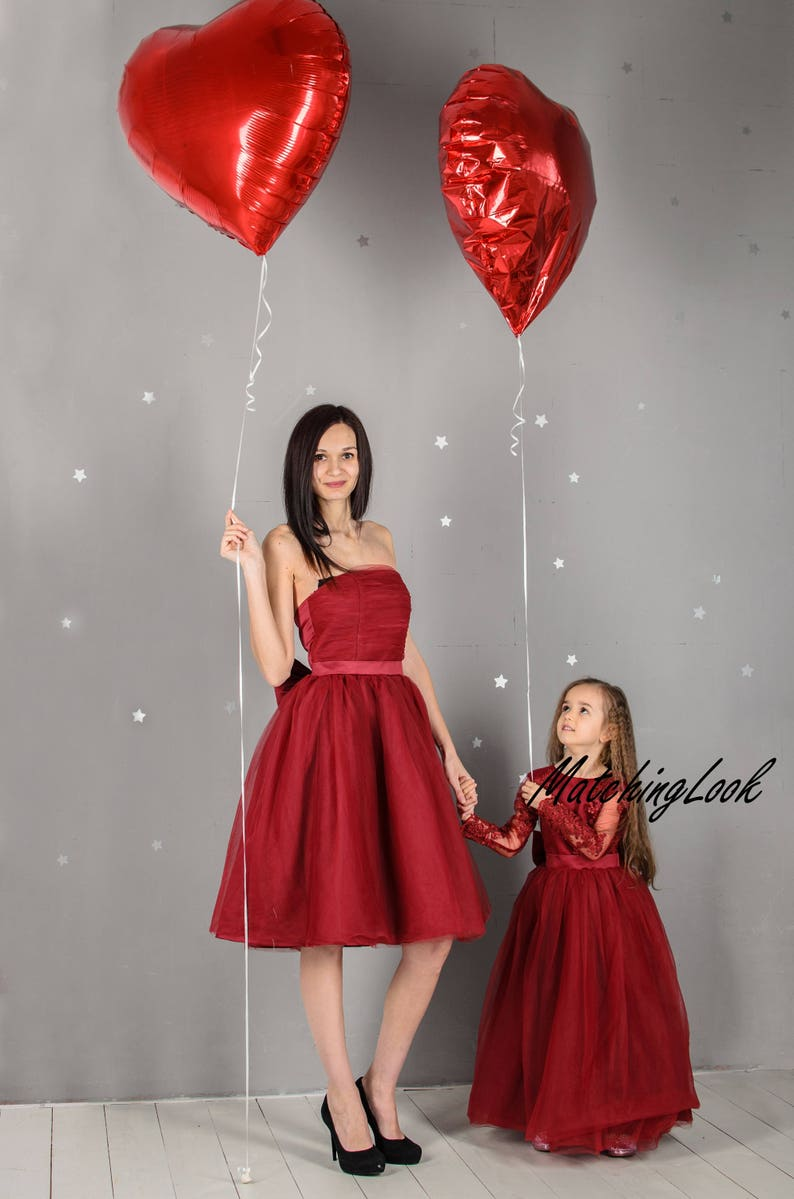 d56126cd767ce Mommy and Me Outfits Dresses Burgundy Tutu Dress Mother Daughter Matching  Dress Lace Dress Matching Dresses Outfits Birthday Christmas dress