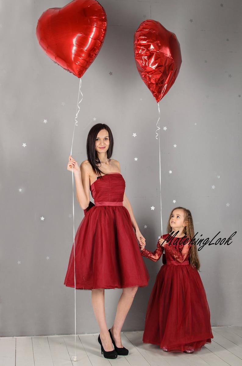 af4def6347 Mommy and Me Outfits Dresses Burgundy Tutu Dress Mother | Etsy