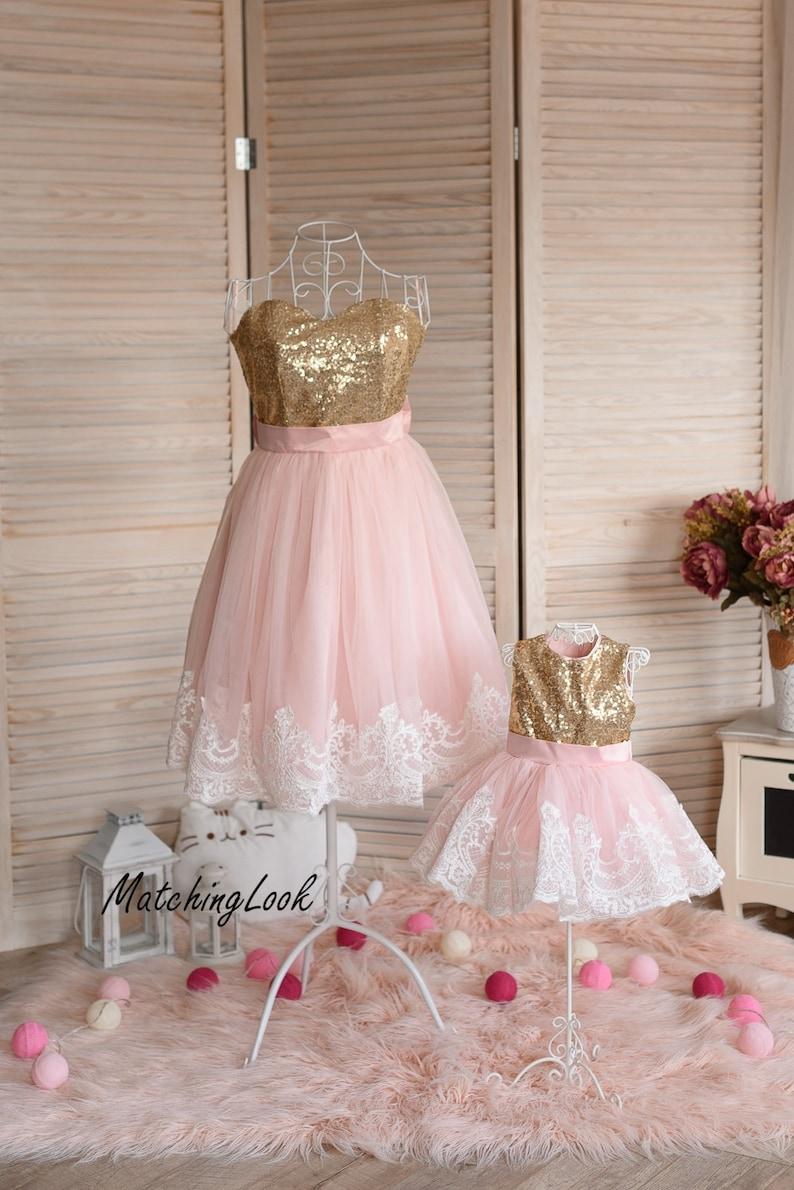 41d7e90b2147 Mother daughter matching dress Pink and Gold sequin dress