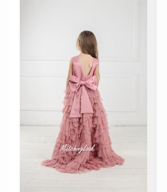 7a5b2ad76f09 Dusty Rose Flower Girl Dress Tulle Dress Blush Flower Girl | Etsy