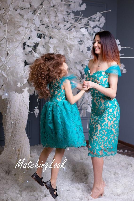 Türkis Mutter Tochter Kleid Mama Und Mich Teal Spitze Kleid Mädchen Party Kleid