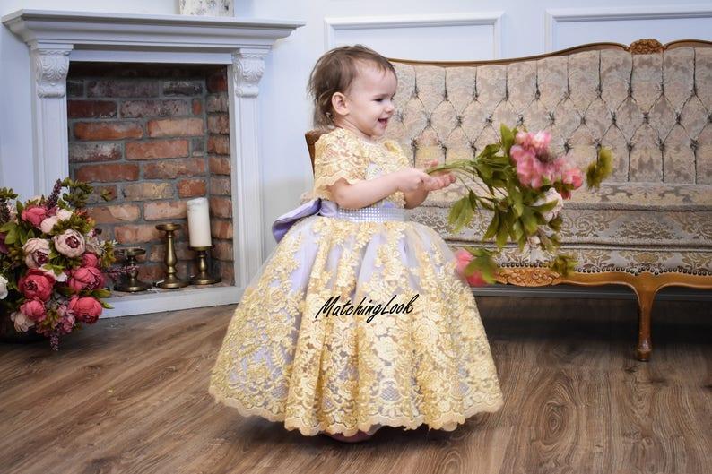 2e93ccc9cd411 Robe bébé fille danniversaire dentelle fleur fille robe or