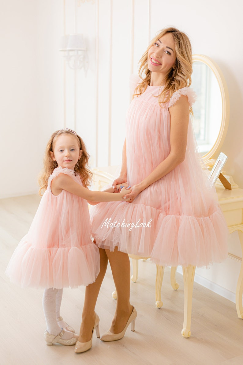 Matching Tulle Dress Tutu Dress Mommy And Me Dress Matching Dresses Blush Pink Dresses Matching Easter Dresses Mom And Daughter Dress