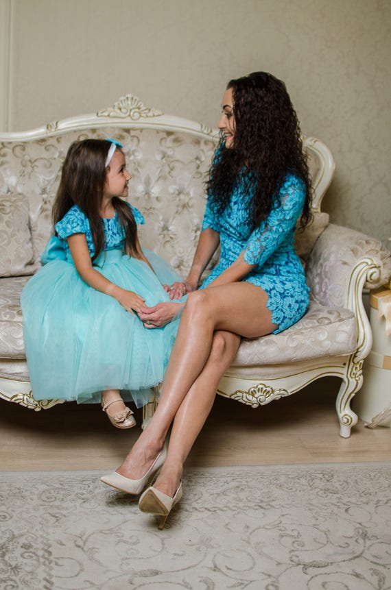 Teal Mother Daughter Matching Lace Dress Mini Dress Sexy -7704