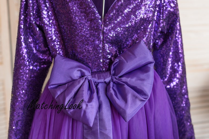 Mom Baby Girl Party Tutu Dress Purple Matching Outfits Mother Daughter Matching Dress Mommy and Me Outfits Ultra Violet Sequin Dresses
