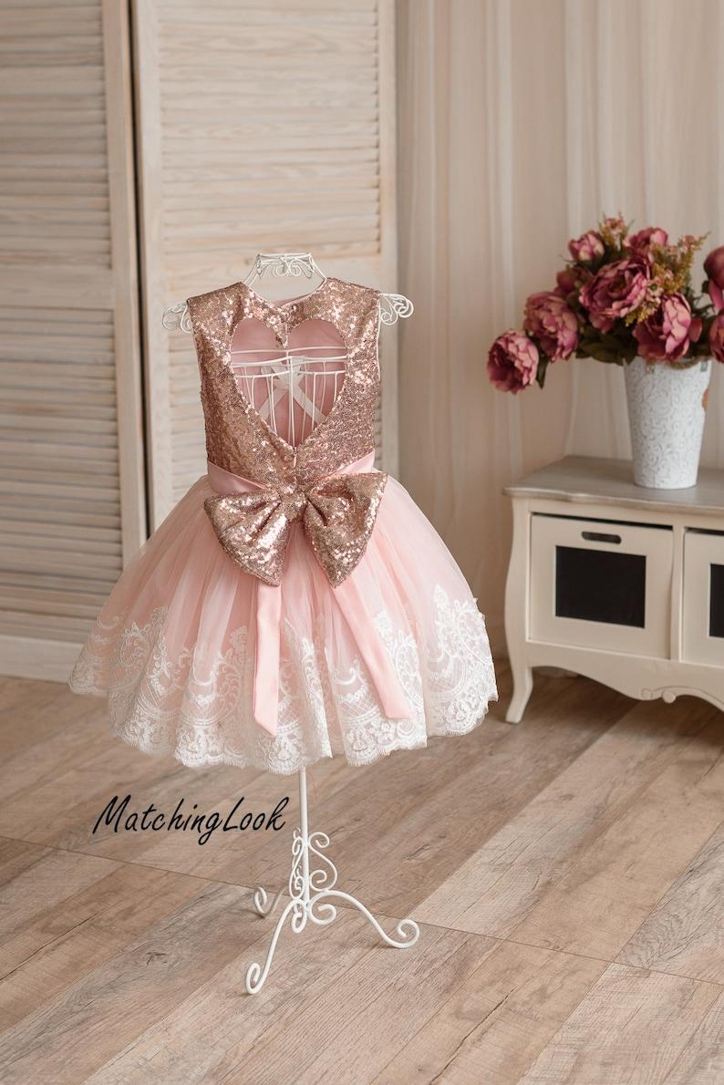 17808581aa3 Rose Gold Flower girl dress Girls Birthday dress 1st