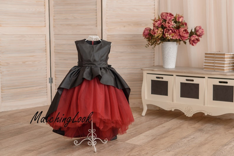 ac770dda1ee Red and black tutu dress flower girl dress black and red
