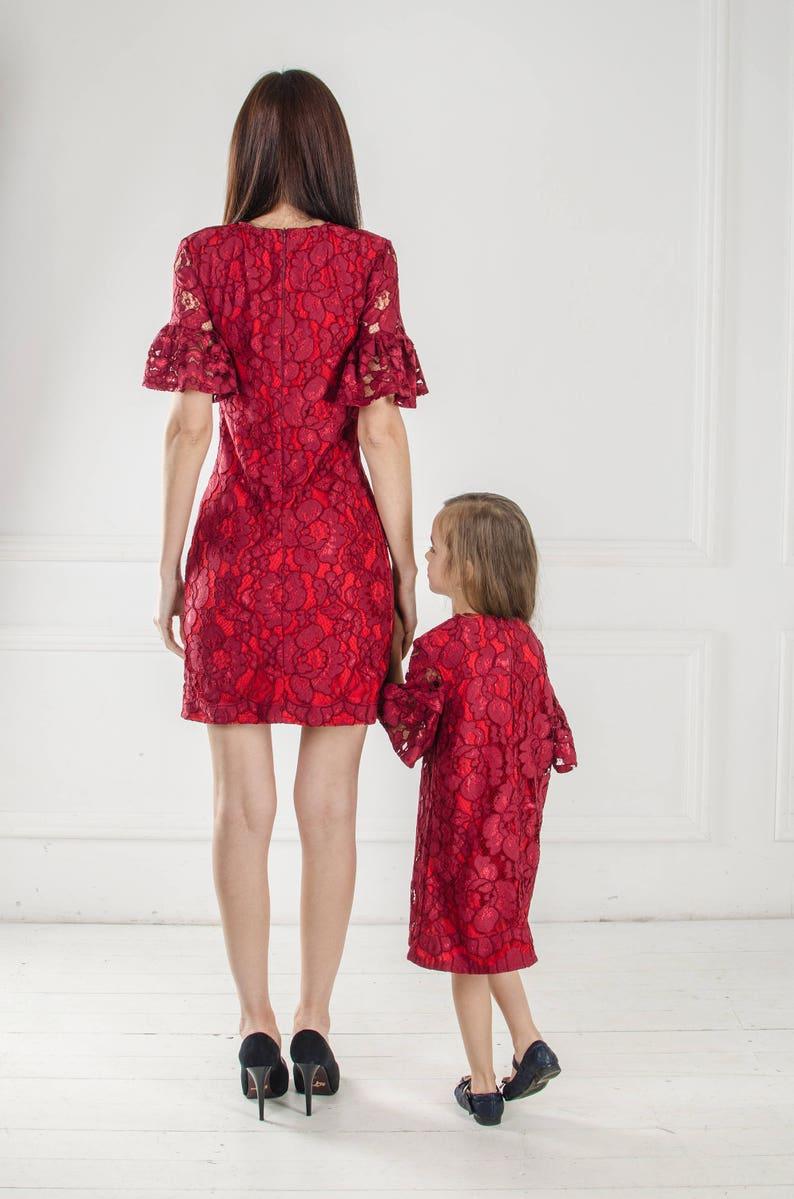77829ab82b Mama i ja koronkowe sukienki córka matka bordo pasujące