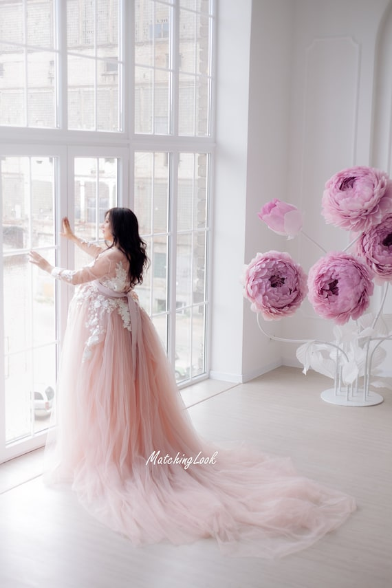 Maternity Dress Photoshoot Gown Photosession Dress Tulle Maternity Gown Photo Props Dress Blush Pink Dress Pregnancy Dress Tulle
