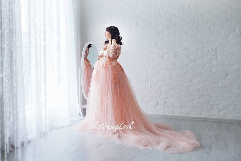 b1d68f1e28 Maternity Dress for photoshoot Peach Lace Maternity Gown