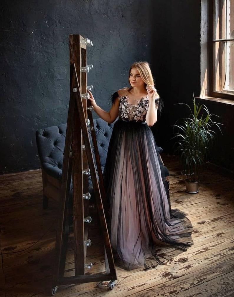 Black Wedding Dress Gothic Wedding Dress Blush Wedding image 3