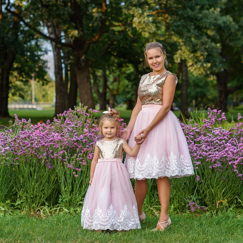 89748d53e Mother daughter matching tutu lace dress Gold sequin dresses | Etsy