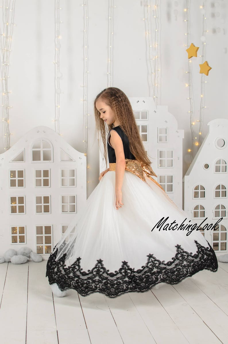 2fbde927d6655 Black and White First Birthday Dress Dresses Long Girl Birthday Tutu Dress  Outfit Lace Flower Girl Dress Ivory Tutu Dress Black Baby Dress