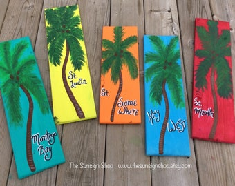 Palm Tree Destinations Tropical Wood Sign,key west,St. somewhere,Mexico,beach signs, tiki bar signs, Jimmy buffett signs,pool signs,cottage