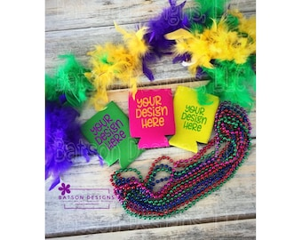 Download Free Green Pink Yellow Can Holder Mardi Gras Mockup Instant Download   Fat Tuesday Mock-up Bottle Holder Foam Sleeve Instant Download JPEG File PSD Template