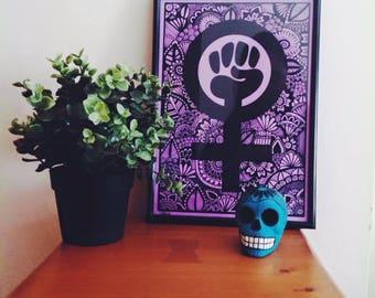 Simbolo Feminista Zentangle Morado