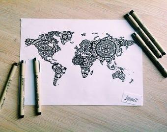 Items similar to world map mandala hand drawn wall art print on etsy world map mandala gumiabroncs Gallery