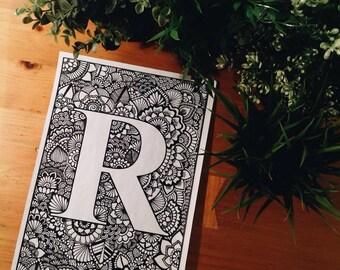 Letra R Zentangle