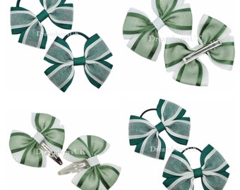 hair accessories toddler bows *THIN BOBBLES* Bottle green fabric school bows