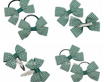 Gingham School Streamer Hair Ribbons Bobbles